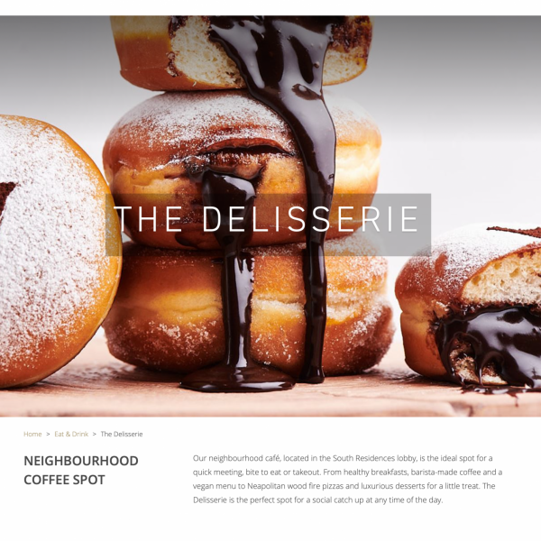 Five hotels and Resorts - The Delisserie cafe Publicity Web page