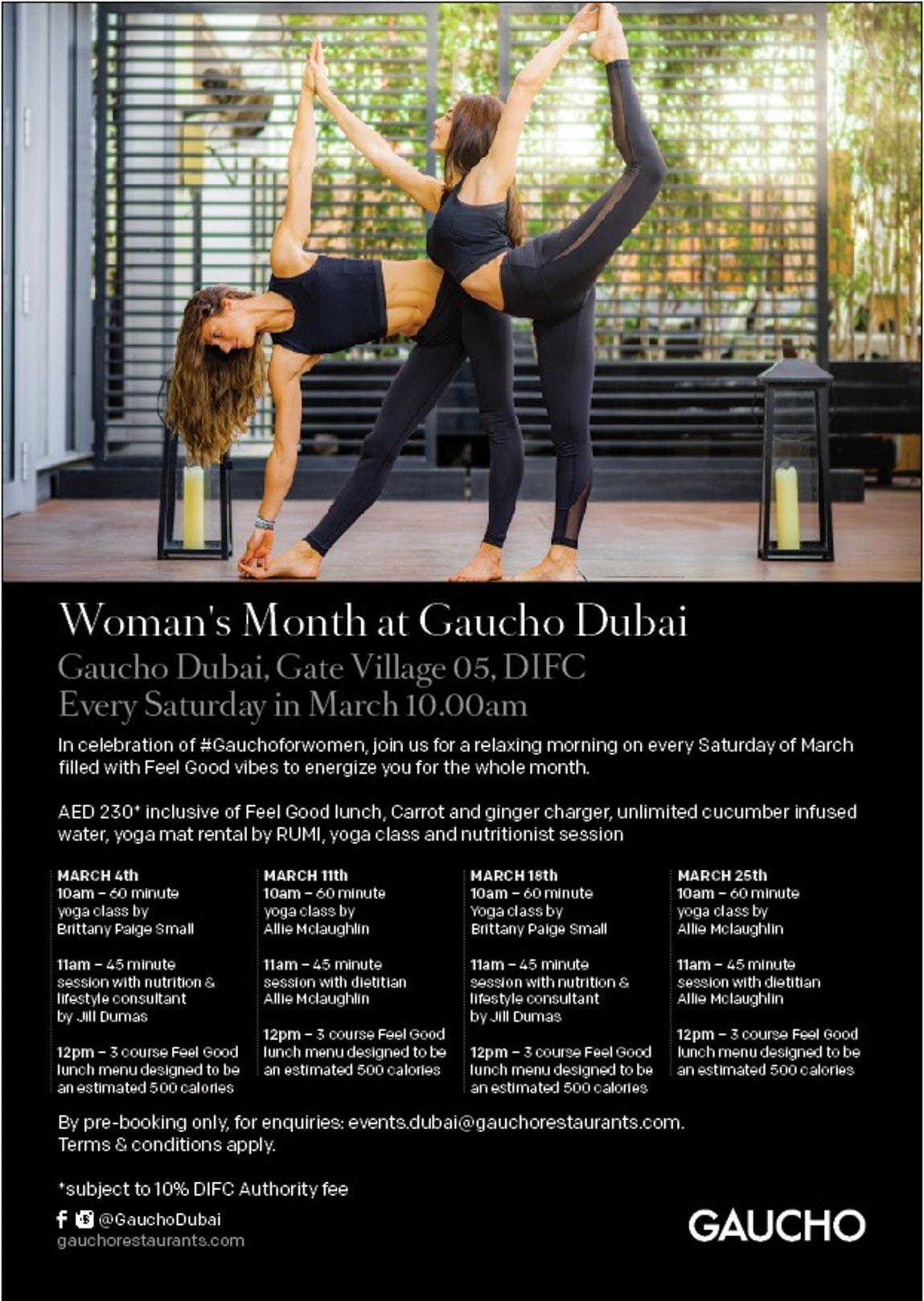 Yoga Retreat - Gaucho Dubai Publicity