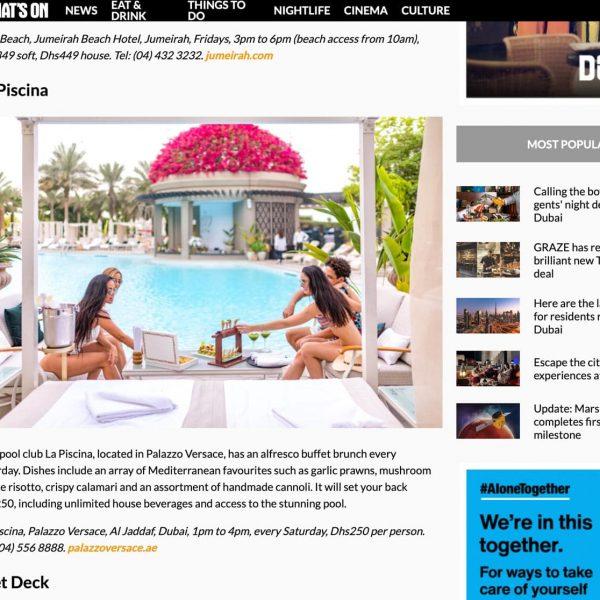 la piscina palazzo versace hotel Dubai - Publicity